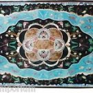 Size 2.5'x5' Marble Dining Table Top Turquoise Gems Inlay Mosaic Decor Furniture