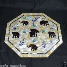 "18"" Marble Coffee Dining Table Top Paua Shell Elephant pietra Dura Home Decor"