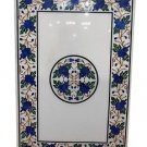 Size 2'x3' Marble Dining Table Top Lapis Gems Mosaic Floral Work Home Decor
