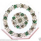 Size 1'x1' Marble Center Coffee Table Top Malachite Mosaic Floral Home Decor