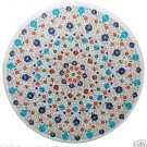 "Size 42""x42"" Marble Dining Table Top Handmade Inlay Mosaic Floral Art Decor"