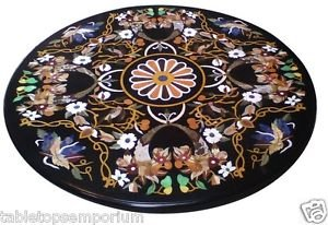 """Size 36""""x36"""" Black Marble Coffee Table Top Marquetry Mosaic Inlay Art Home Decor"""