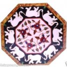 """18"""" White Marble Coffee Table Top White Elephant Marquetry Inlay Arts Home Decor"""