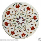 """Size 18""""x18"""" Marble Round Corner Coffee Table Top Carnelian Mosaic Marquetry Art"""