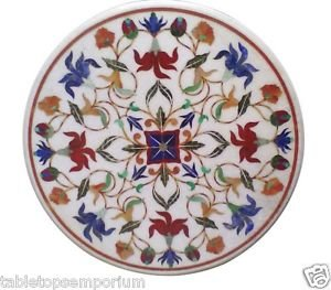 """Size 30""""x30"""" Marble Round Coffee Center Table Top Marquetry Inlay Art Home Decor"""