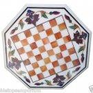 Size 2'x2' White Marble Side Corner Coffee Chess Table Top Inlay Pietradure Deco