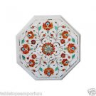 Size 1'x1' End Tables White Marble Inlay Coffee Table hand made Scagliola art