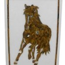 """Size 18""""x24"""" Marble Dining Table Top Semi Inlay Gems Mosaic Horse Art Decor"""