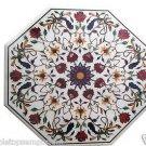 Size 2'x2' Marble Coffee Table Top Semi Precious Gems Inlaid Mosaic Patio Decor