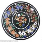 "24"" Black Marble Inlaid Coffee Table Top Handmade Rare Christmas Home Decor Arts"