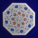 """22"""" White Marble Marble Table Top Italian Inlaid Peacock Design Marquetry Decor"""