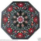 "14"" Black Marble Hakik Pietra Dura Dining Table Top Coffee Home Decor Inlaid Art"