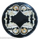 "12"" Black Marble Rare Marquetry Foyer Table Coffee Top Mosaic Home Decor Art"