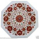 "12""x12"" Marble Coffee Side Corner Table Top Carnelian Inlaid Mosaic Garden Decor"