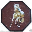 "Size 18""x18"" Marble End Coffee Table Top Inlay Mosaic Horse Marquetry Decor"