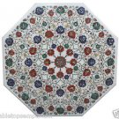 Size 2.5'x2.5' Marble Dining Table Top Semi Precious Marquetry Mosaic Decor Art