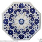 "Size 18""x18"" Marble Coffee Table Top Lapis Stone Mosaic Floral Art Decor"
