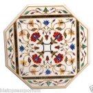 "Size 24""x24"" Italian Marble Side Coffee Table Top Rare Inlay Mosaic Garden Decor"