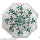 "Size 15""x15"" Marble Handmade Side Table Top Pietra Dura Malachite Decor Arts"
