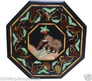 """18"""" White Marble Coffee Side Table Top Elephant Marquetry Gem Inlay Garden Decor"""