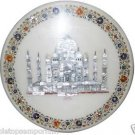 """18"""" White Marble Coffee Table Top Mosaic Tajmahal Marquetry Inlay Art Patio Deco"""