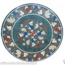 Size 4'x4' Marble Side Coffee Table Top Pietradure Gems Mosaic Leaves Decor