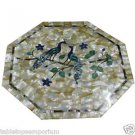 "18"" Marble Coffee Dining Table Top Mother Of Pearl Peacock Home Decor Mosaic New"