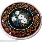 """18"""" Black Marble Coffee Table Top Rare Mosaic Floral Inlay Marquetry Patio Decor"""