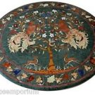 3'x3' Marble Coffee Side Table Top Rare Mosaic Inlay Marquetry Art Outdoor Decor