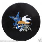 """Size 30""""x30"""" Marble Round Coffee Table Top Rare Inlay Gem Mosaic Birds Deco H476"""