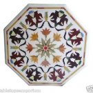 "Size 24""x24"" Marble Coffee Side Table Top Mosaic Inlay Marquetry Art Patio Decor"