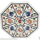 "Size 24""x24"" Marble Side Coffee Center Table Top Floral Inlay Mosaic Patio Decor"