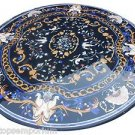Size 5'x5' Marble Dining Center Side Table Top Lapis Stone Inlay Marquetry Decor