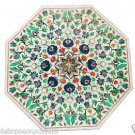 "Size 24""x24"" Marble Coffee Table Top Malachite Gems Mosaic Inlay Home Decorative"