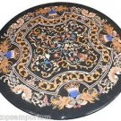 "Size 42""x42"" Marble Side Dining Table Top Ancient Pietradure Inlay Outdoor Decor"