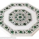 "24""x24"" Marble Side Corner Center Table Top Rare Malachite Gems Mosaic Inlay Art"