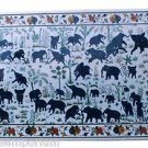 Size 2.5'x5' Marble Dining Table Top Lapis Stone Elephant Inlay Mosaic Decor Art