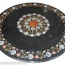 "Size 36""x36"" Marble Side Coffee Table Top Marquetry Gems Mosaic Inlay Home Decor"