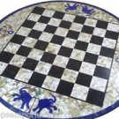 "Size 30""x30"" Marble Coffee Chess Table Top Mother of Pearl Elephant Inlay Mosaic"