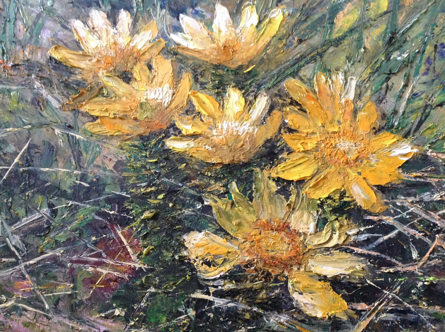 "Oil Painting�Yellow Flowers�Nature Fine Art Oil Painting On Canvas Size: 8"" x  12"" (20 x 30 cm)"