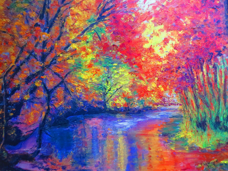 """Oil Painting�River�Landscape Fine Art Oil Painting On Canvas- Size: 20"""" x  24"""" (50 cm x 60 cm)"""