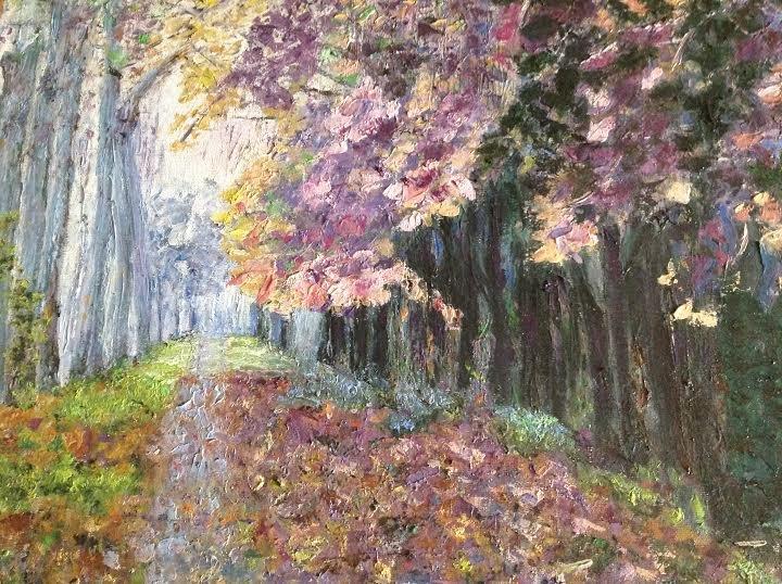 "Oil Painting�Purple Street�Fine Art Oil Painting On Canvas- Size: 16"" x  20"" (40 cm x 50 cm)"