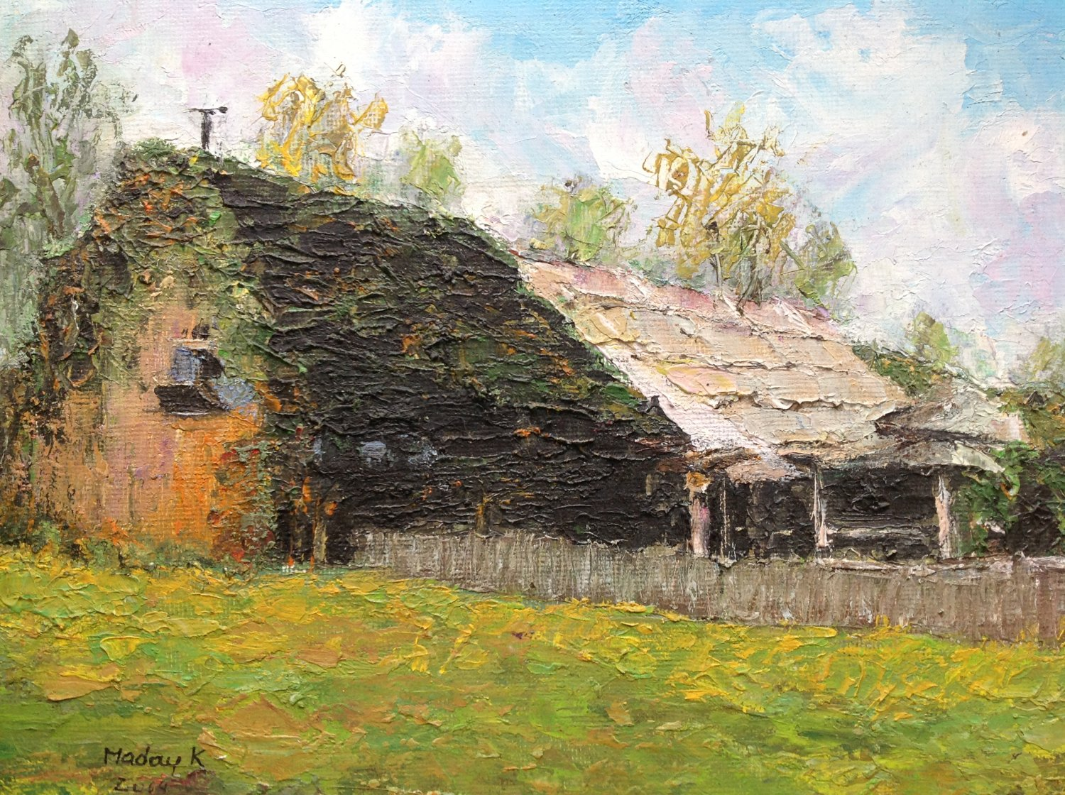 "Oil Painting � Cottage�Fine Art Oil Painting-Size: 8"" x  12""(20 cm x 30 cm)"