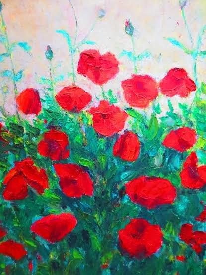 "Oil Painting � Poppy Flowers�Fine Art Oil Painting-Size: 20"" x  16""(50 cm x 40 cm)"