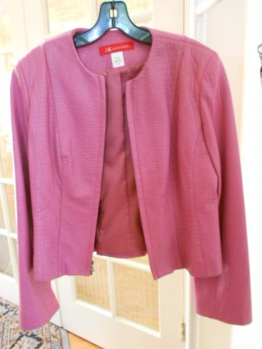 Woman leather jacket dark rose AK size 6 waist length
