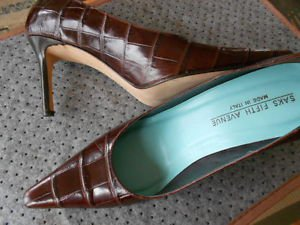 woman shoes leather croc brown high heels new made in Italy