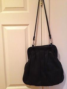 Saks Fifth Avenue Leather Shoulder Handbag  black