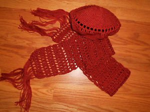 Handmade brown Beret and scarf