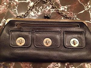 AUTHENTIC  Cynthia Rowley Black Leather Clutch Handbag Purse Shoulder Bag