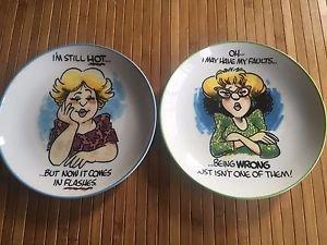 Finkstrom Annoyingly Honest For Centrum Plates Set of 2 Old Elderly Funny Jokes